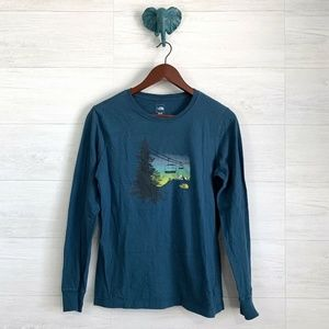 The North Face Teal Blue Ski Mountain Graphic T